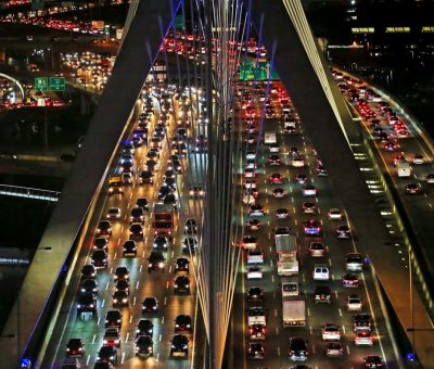 A view of a city at night in Traffic